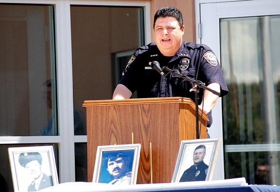 Colville Tribal Police Chief Cory Orr speaks during the Fallen Officer Memorial Week ceremony on Friday at the Colville Correctional Facility.