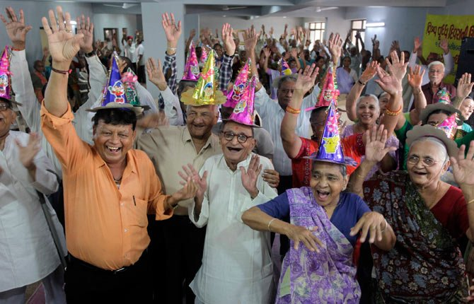 Elderly Indians participate in celebrations to mark International Day of Older Persons at an old age home in Ahmadabad, India, Tuesday Oct. 1. Much of the world is not prepared to support the ballooning population of elderly people, including many of the fastest-aging countries, according to a global study scheduled to be released Oct. 1 by the United Nations and an elder rights group.