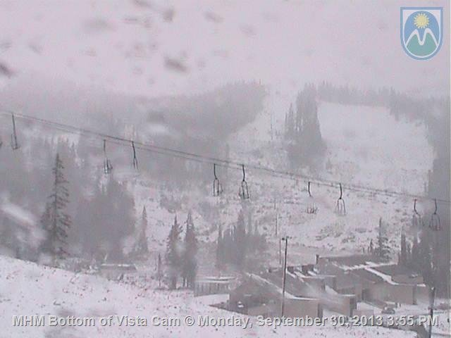 MT. HOOD MEADOWS webcam shows snow Tuesday morning.