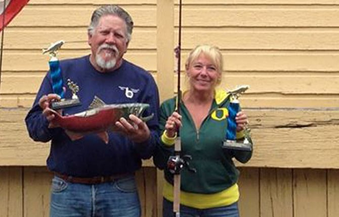 JIM RICHARDSON and Pam Dickey had the largest salmon in this year's Wasco Salmon and Steelhead Tournament Sept. 28.