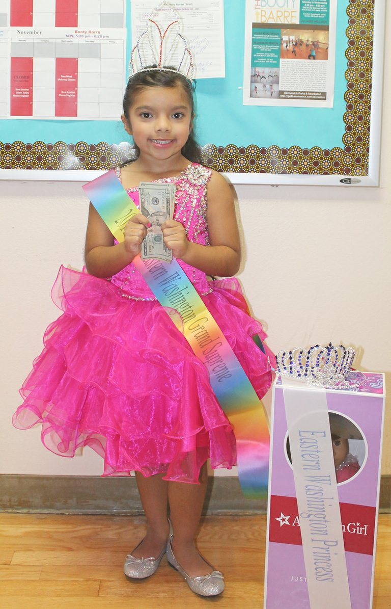 Sunnyside's Audrina Campos, 5, won the Miss Eastern Washington title in the 5-6 age division this past weekend. Campos also won cover model honors and the 2013 Miss Eastern Washington Grand Supreme crown, the second highest title in the pageant, earning her $100 and an All-American girl doll. The pageant was held at the Kennewick Senior Citizen Center.