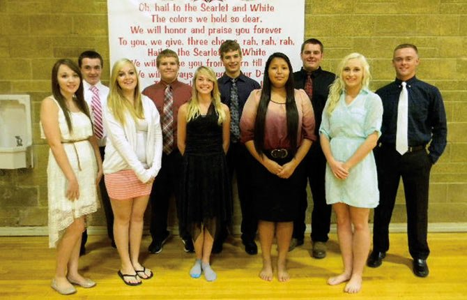 The 2013 Dufur High School Homecoming Court, back row, Josh Keezer, Teneille McDonald, Austin Olson, Kelly Heemsah, Brent Sumner; front row Louise Smith, Alec Smith, Brooklyn Coleman, Ethan Wetherbee and Chloe Hipsley.