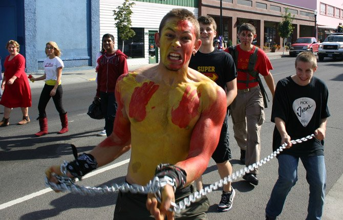 Noise parade revelers get a little wild in anticipation of The Dalles Wahtonka High School's homecoming football game tonight against Ridgeview. The game starts at 7 p.m. at Sid White Field.