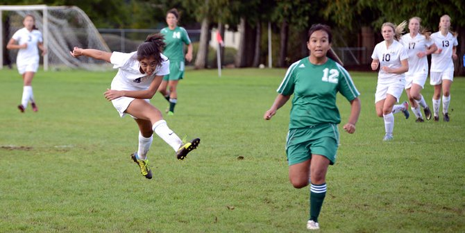 Freshman Cielo Rivera shoots one of several near-goals she had in the second half.