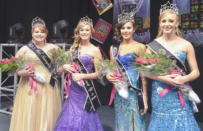 Crowned at yesterday's Miss Sunnyside Pageant are (L-R) 2013-14 Miss Sunnyside Alyson Spidle, First Princess Ashley Davis, Second Princess Tiana Perez and Third Princess Leah Diddens.