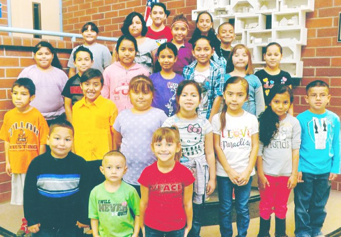 Mabton's Artz-Fox Elementary School students of the month for September include (front L-R) Javier Flores, Crystian Velasquez and Brooke De La Fuente; (second row L-R) Alejandro Lupercio, Ashley Pineda, Miley Pacheco, Ana Aguirre, Mia Rodriguez, Nahomi Cisneros and Jonah Salinas; (third row L-R) Giselle Garzon, Cesar Arroyo, Brianna Barajas, Kenia Morales, Jessica Roman, Jayden Roy and Anahi Villa; (fourth row L-R) Lily Villa, Stephanie Arellano, Krystal Meza and Andrez Luna; (back L-R) Destiny Beltran and Monica Luna.