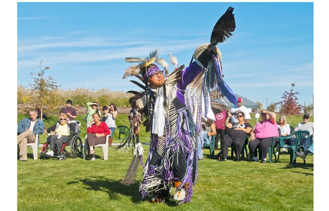 "Native American dancer Keno of Warm Springs performs a ""sneak-up dance"" at the Re-Connect to the River Festival in The Dalles Oct. 5."