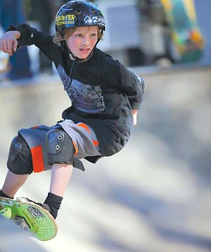 GROMINATOR participants Max Jones at the Hood River Skate Park during Saturday's fourth-annual contest.