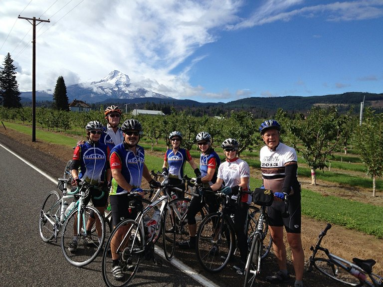 SEPT. 14, SENECA: Cycle Oregon riders: from left to right, Lisa Brown, Shari Jenkins, Bob Elken, Mark Berry, Michael Schock, Angela Schock, Malcolm Brown and Dan Kleinsmith. Not shown but participating, Bruce Ludwig.