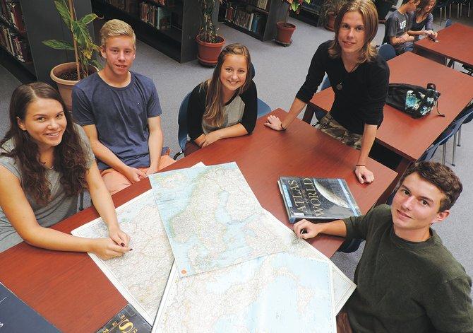 Meet the international students at Hood River Valley High School: Joel Aberg of Sweden, Martin Lanthaler of Italy, Amelie Broecker of Den-mark, Vilde Feten of Norway, and Tjorboern Joerstad of Norway.