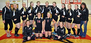 2013 HORIZON VOLLEYBALL players are (back row) coach Loretta Hoeffner,Victoria Rasmussen, Cheyenne Rosander, Amy Requa, Isabelle Cullen, Jayden Shelton, Sarah Wesner, Sarah Ryan, Brooke Serdar, Hannah Lingel, coach Cynnamon Hawkins, (front row) Kaylee Farring, Jasmine Stevens, Savanna Hawk, Kloee Brown. (Not pictured are Anna Robison and coach Shelly Wells.)