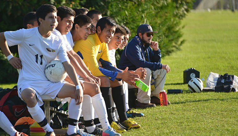 HRV BOYS were relaxed on the bench Thursday during the team's 5-1 win at home over Pendleton. The boys are now 10-1-1 on the season