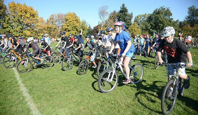 AND THEY'RE OFF: Hood River Middle School students participate in a school-wide triathlon activity Friday afternoon.