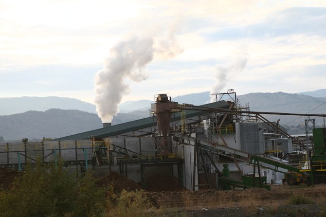 The Omak Wood Products mill, pictured last week, was forced to shut down Thursday due to a damaged bearing in a boiler pump.