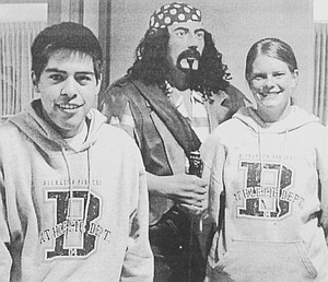2003: Bickleton High School students Miguel Macias (L) and Kirstin Slater were selected as public relations officers for the Bickleton School District. Their role was to inform Bickleton residents about activities at the school.
