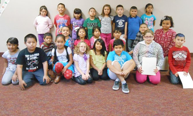 Sunnyside's Washington Elementary School first and second grade students for the month for October are (front row L-R) Alessandra Espinoza, Osbaldo Lugo, Corina Chavez, Mya Castilleja, Valeria Zesati, Irwin Collins, Natalee Bucio-Zaragoza and Jaihlen Guillen; (middle row L-R) Alan Jacobo, Ariana Ramos, Emily Arellano, Brissa Silva, Abely Jimenez, Victor Padilla and Madalynne Butler; (back row L-R) Rubi Franco, Marcos Cruz, Lexis Moncivaiz, Dominique Soriano, Samantha Almaguer, Andre Caballero, Gregorio Garcia and Briseida  Cambron. Not pictured: Brianna Garza, Jose Cortez, Dennise Ramirez-Gonzales, Edgar Tapia and Adan Gomez.
