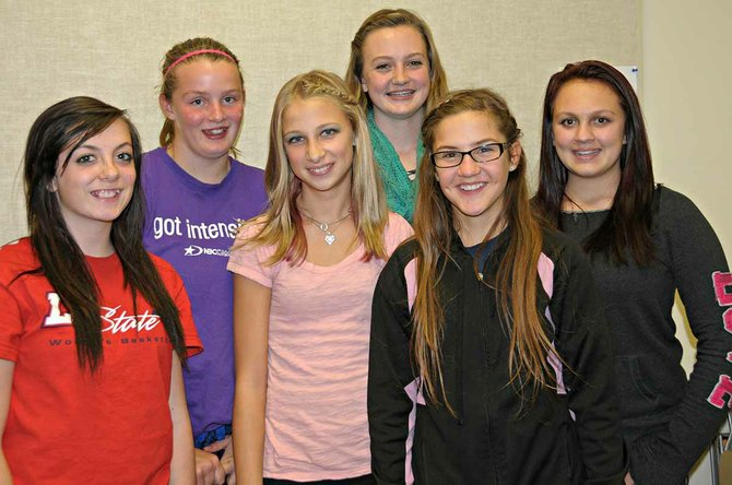 Pictured are Rough Rider 4-H Club officers for 2013-14 (L-R) Hailey Russell, reporter; Colby Canaday, treasurer; Bella Klapprich, secretary; Rachel Kelley, president; Micaela Farris, sergeant-at-arms; and Kayla Creutzberg, vice-president.