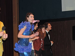 "FAME and its tribulations, on-stage and off, are examined in ""Reach 4 It!"" featuring Lani Euwer, left, Dhora Daluz, Delaney Bar-bour and Noah Tauscher as competitors."