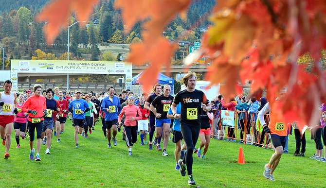 "More than 1,300 runners turned out for the 2013 Columbia Gorge Marathon and Half Marathon Sunday. Runners were treated to fall colors in their peak along much of the course, labeled ""The Most Scenic Marathon in the Country"" by The Dalles-based Breakaway Promotions. Pictured is the start of the half-marathon course, which started and finished at the Port of Hood River's marine park."