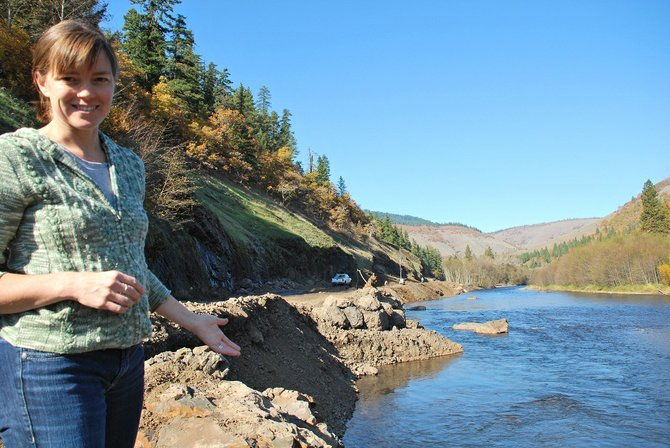 Lindsay Cornelius, stewardship lead for the Columbia Land Trust, speaks about the Klickitat River Haul Road Restoration Project. The project is currently in Phase 4 of restoring the Klickitat River to its natural flow within its floodplain.