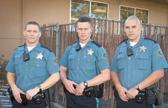 Three new troopers have been assigned to The Dalles Oregon State Police field office. Pictured are, left to right, Jason Schaffner, Matt Moran and Matt Newby.