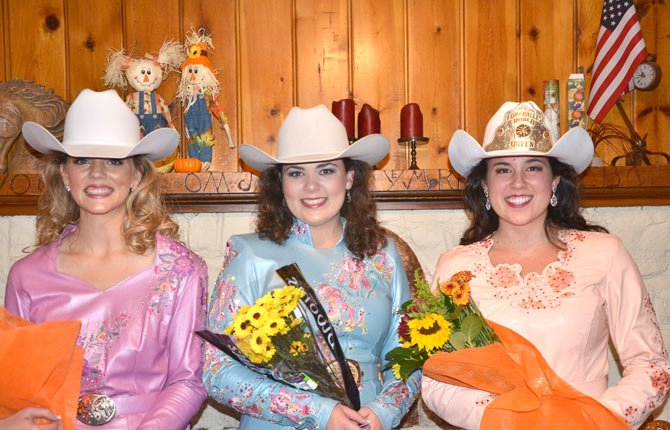 KATIE SURRITT, RIGHT, the 2014 Fort Dalles Rodeo Queen, poses with first runner-up Sarah Hammond, left, and Maggie Little at the Fort Dalles Rider's Club after winning the right to represent the annual 