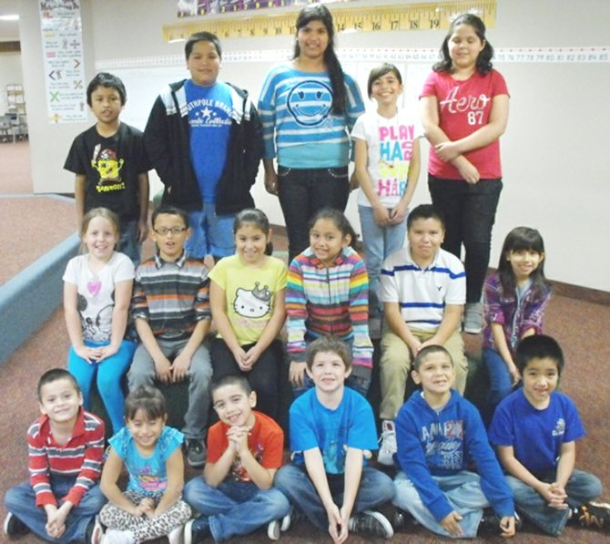 Sunnyside's Washington Elementary School accelerated readers of the month for October are (front L-R) Alexis Hernandez, Cristina Leyva, Julian Ramirez, Aaron Martinez, Victor Padilla and Andres Contreras; (second row L-R) Bella Dekker, Diogo Diaz, Jennifer Penafiel, Grecia Garibay, Omar Rodriguez and Haley Rodriguez; (back row L-R) Joshua Zurita, Juan Contreras, Hellen Palma, Hennessy Rodriguez and Jayla Solis.