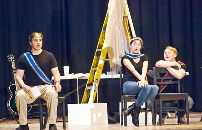 Members of the Oregon Shakespeare Festival school visit program present a series of sketches Nov. 5 at The Dalles Wahtonka High School  illustrating the Shakespearean view regarding the dificulties and trials of romantic love.