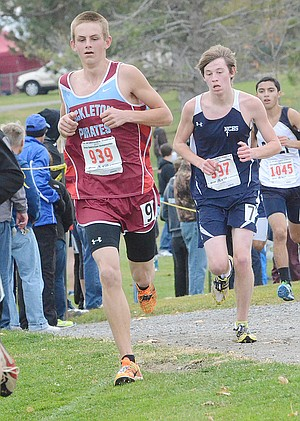 Troy Roberts of Bickleton nears the two and a half-mile mark during Saturday's 1B/2B State cross-country meet. Roberts clocked the fastest time of the six Pirates who competed in Pasco (17:56.04).