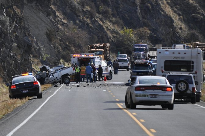 Multiple emergency service agencies were on scene two miles north of Riggins at the scene of a single-fatality crash involving a pickup and a semi-truck. The truck impacted the eastbound Cliffside, and the semi-truck and chip trailer ended up over the bank and submerged in the Salmon River.