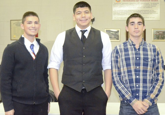 Three of the five Sunnyside teens who this past summer attended Evergreen Boys State, Hank Fairbairn, Victor Ramos and Elijah Pena (L-R), last night speak to members of Sunnyside American Legion Post #73 about their experience.