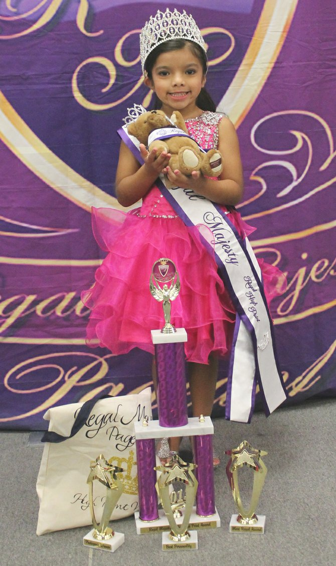 Sunnyside's Audrina Campos has once again been named most regal at a Regal Majesty preliminary pageant. The competition was held this past weekend at the Nampa Civic Center in Nampa, Idaho. The 5-year-old competed in the 5-6 age group, earning most photogenic, best personality and high point honors in addition to the honor of being named most regal. Next March she will compete in the 2014 Regal Majesty Finals in Everett.