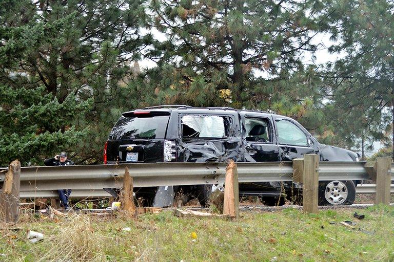 SUBURBAN shows the damage after fishtailing with the trailer it was towing near exit 63.