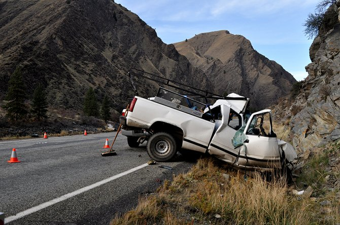 Lester L. Ladner of Donnelly, died Monday morning, Nov. 11, after his northbound pickup (pictured) collided with a southbound semi-truck and trailer two miles north of Riggins.