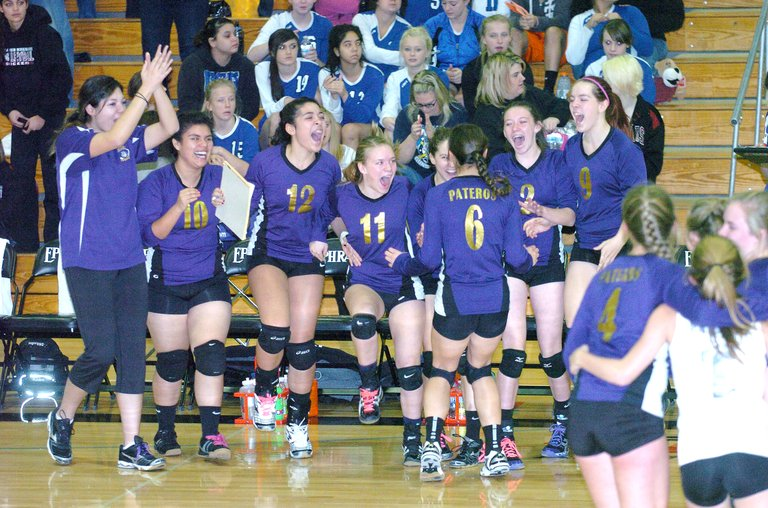 The Pateros Nannies celebrate their district championship and state No. 1 seed berth Saturday in Ephrata.