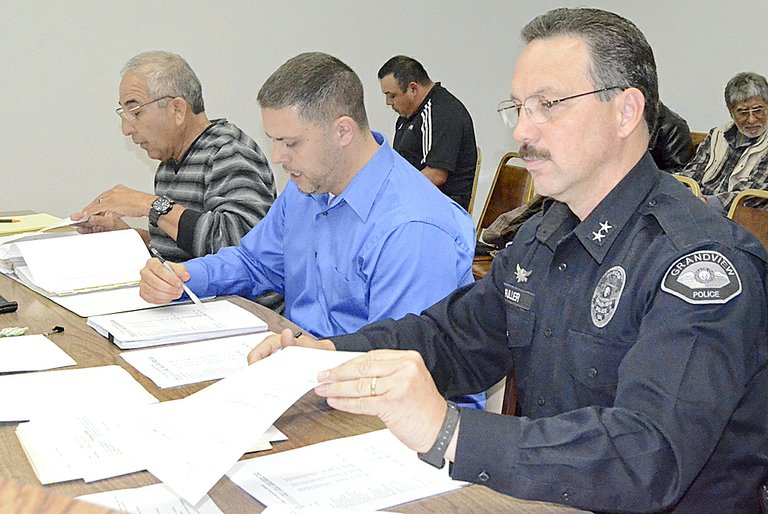 Presenting the proposed 2014 budget for the Grandview Police Department are (L-R) City Administrator Cus Arteaga, Treasurer Matt Cordray and Assistant Police Chief Kal Fuller.