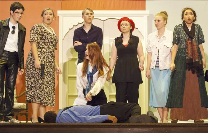 "THE DALLES Wahtonka High School drama department is performing a murder mystery comedy, ""The Bold, The Young and The Murdered,"" starting tonight, Thursday, Nov. 14 and running this weekend and next weekend. Show dates are Nov. 14-16 and Nov. 21-23 at 7:30 p.m., at The Dalles Wahtonka High School. The long-running soap opera, ""The Bold and the Young"" is in its last days, with its squabbling cast facing self-esteem issues and other problems. The executive producer gives an ultimatum to complete one episode overnight or the show dies. But soon the cast starts getting bumped off, and the misfits must discover the murderer before the show is literally killed off. Above,  Eileen Silverstedt (Brooklynn Tamen) discovers a note on the latest victim, Sebastion Strong (Nick Parsons). Looking on are, left to right, Jake Strong (William Gilbert), Nona Jefferies (Cheyenne Sherard), Tyler Tripodo (Jordan Palmer), the stage manager (Dakota Meacham), Jessica Silverstedt (Ashley Claussen), and the intern (Ema Erikson)."