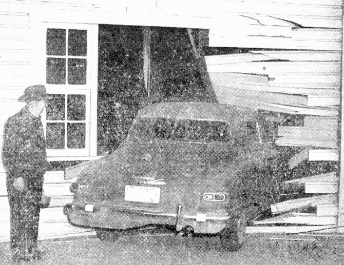 1953: Elmer King's car crashed into the Prescott blacksmith shop after he was involved in a collision. Sunnyside police reported the damage to the car was less than the damage to the building.