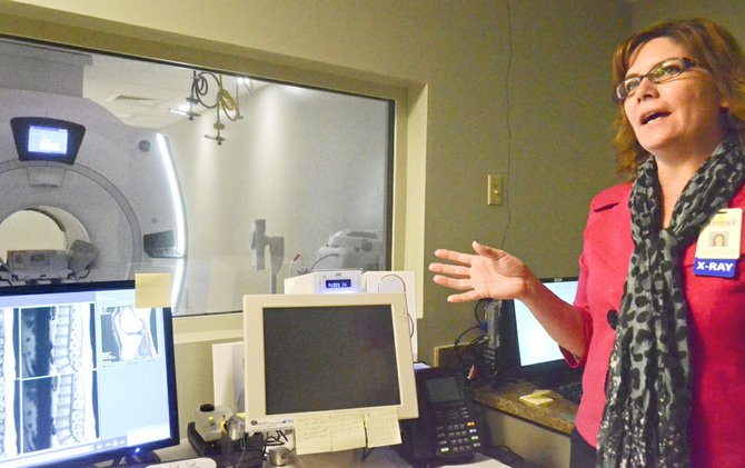 Sunnyside Community Hospital Imaging Department Director Coleen Goulet talks to Sunnyside Noon Rotary Club members about the hospital's new MRI machine.