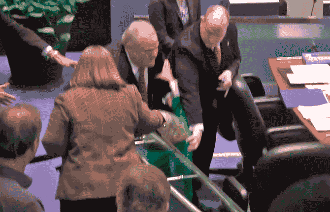 Toronto Mayor Rob Ford is shown in a video frame grab as he knocks down Councillor Pam McConnell as he ran toward hecklers in the audience at City Hall Nov. 18.
