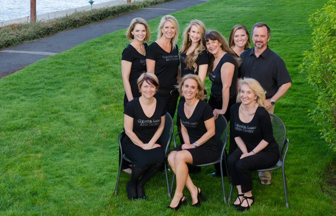 COLUMBIA LASER Skin Center's entire staff will now be housed under one roof at the business' The Dalles office, 301 Cherry Heights Rd. Pictured, front row, from left, Shawna Russell, Erika Wilson, Deb Bailey; back row, Tanya Backman, Angie Herriges, Anna Lyons, Cathy Ryan, Becky Weir and Dr. John Willer.	Contributed photo