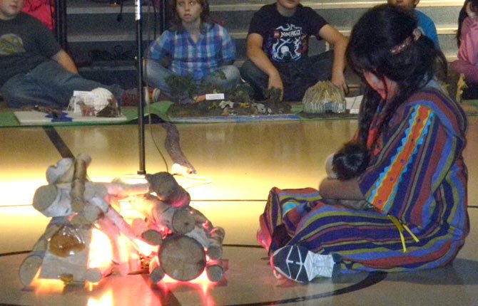 FOURTH GRADER Vicci Cruz performs at the Dry Hollow Indian Potlatch.