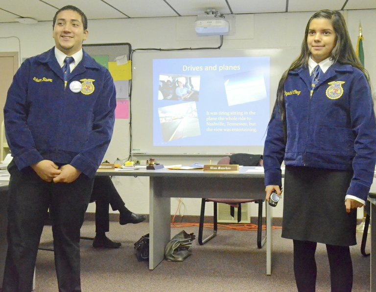 Mabton FFA chapter members Edson Rivera and Crystal Cruz this past Monday present the Mabton School Board with information about the chapter members' recent trip to Louisville, Ky. The pair talked to the school board about the many sites and experiences of attending the FFA National Convention.