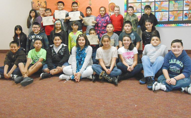 Sunnyside's Washington Elementary School third through fifth grade students for the month for November are (front row L-R) Noel Ramos, Luis Lopez, Juan Contreras, Leandra Cisneros, Maylen Espindola, Itzel Ramirez, Juan Valle and Johnny Medrano; (second row L-R) Yazmin Alvarez, Rogelio Villa, Vivica Booth, Bianca Gonzalez, Osiel Teyes, Jared Tapia, Denilson Orihuela and Bella Romero; (back row L-R) Lency Gonzalez, Cole Morrow, Sofia Castillo, Mateo Armendariz, Emmanuel Barreto-Torres, Saul Hernandez, Jenelle Ramos, Rilee Murray,  Matthias Gatica and Francisco Mariano. Not pictured: Mani'ya Bueno and Brianna Redick.