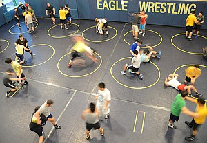 HARD WORK in the HRVHS wrestling room will be put to the test starting this Friday with the team's an-nual Blue and Gold inter-squad meet. The first varsity matches of the season will be Dec. 6, home, at 7 p.m.