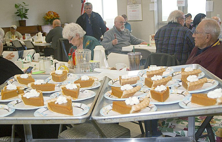 Celebrating Thanksgiving with games, raffles and a lot of pumpkin pie was the theme for the annual Grandview senior citizens celebration held last Wednesday at the Grandview Community Center on Wallace Way. More than 25 diners attended the dinner and participated in an afternoon of games.
