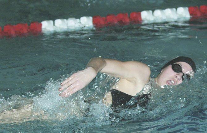 THE DALLES WAHTONKA swimmer Bri Staavas-Jamack cuts through the water at districts last year. With an influx of a handful of returners and nine newcomers, the girls team has the potential to add to its state qualifiers.