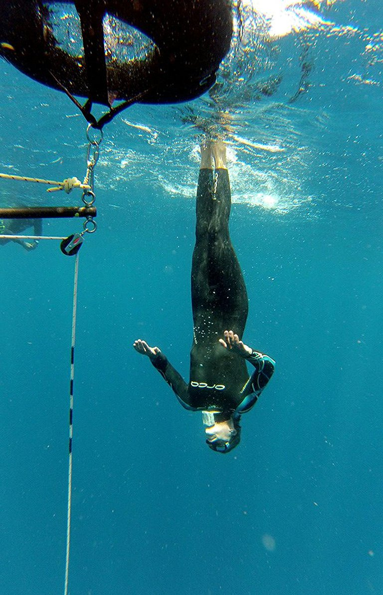 Wes lapp, co-founder of the Hood River manufacturing company Real Carbon, trains regularly and competes about once a year in freediving events. Lapp is pictured above during a no-fins depth dive, which he held a U.S. national record for in 2007.