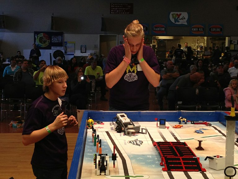 A TENSE MOMENT, from FLL competition in 2012. Gorge tourna-ments resume starting Dec. 7-8 in The Dalles.