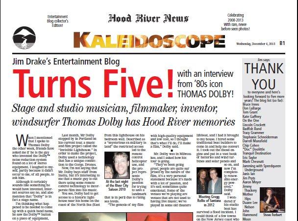 Jim Drake's Entertainment  blog turns five!